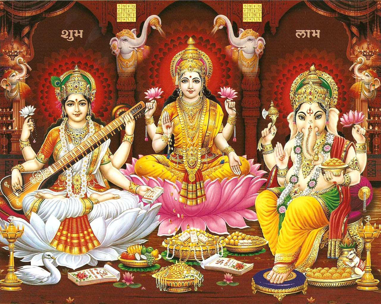 laxmi ganesh saraswati hd wallpapers free download